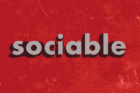 sociable: sociable vector word on red concrete wall