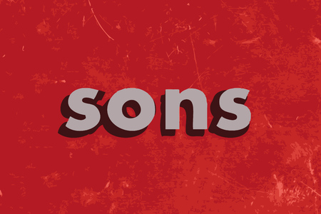 sons: sons vector word on red concrete wall
