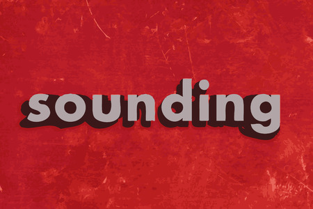 sounding: sounding vector word on red concrete wall