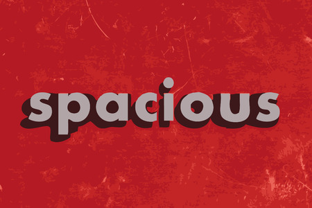 spacious: spacious vector word on red concrete wall