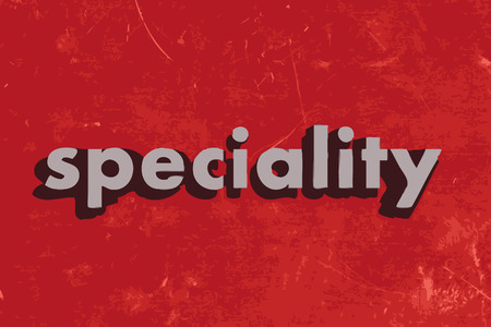 speciality: speciality vector word on red concrete wall Illustration