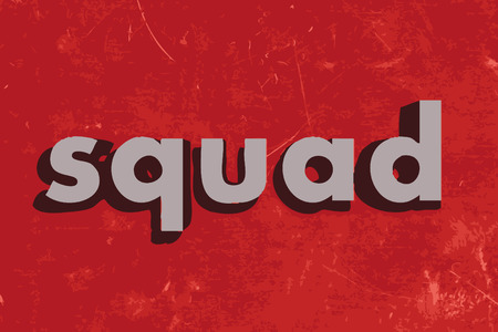 squad: squad vector word on red concrete wall