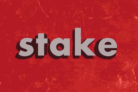 stake: stake vector word on red concrete wall Illustration