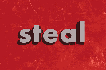 steal: steal vector word on red concrete wall Illustration