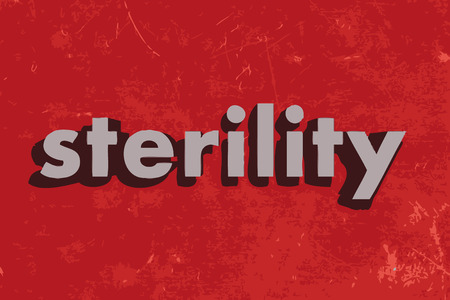 sterility: sterility vector word on red concrete wall