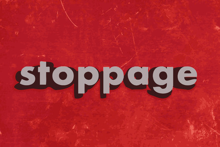 stoppage: stoppage vector word on red concrete wall Illustration