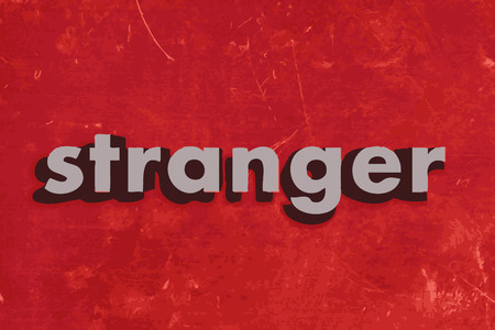 the stranger: stranger vector word on red concrete wall