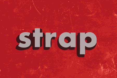 strap on: strap vector word on red concrete wall