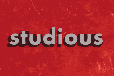 studious: studious vector word on red concrete wall Illustration