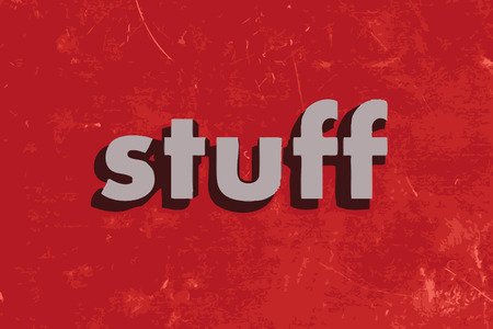 stuff: stuff vector word on red concrete wall
