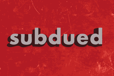 subdued: subdued vector word on red concrete wall Illustration