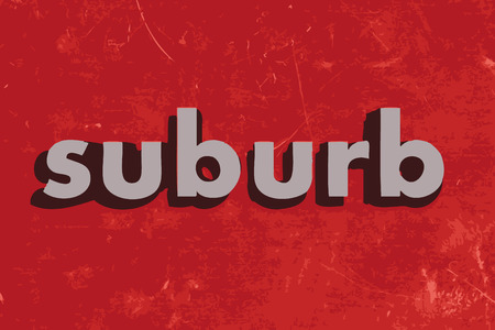 suburb: suburb vector word on red concrete wall