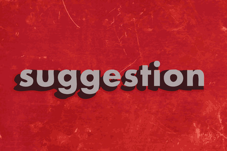 suggestion vector word on red concrete wall Illustration