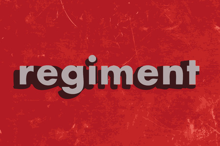 regiment: regiment vector word on red concrete wall Illustration