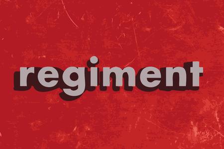 regiment: regiment vector word on red concrete wall Illustration