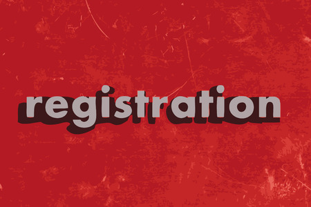 registration: registration vector word on red concrete wall Illustration