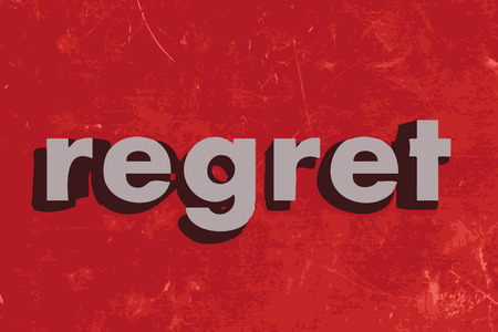 regret: regret vector word on red concrete wall