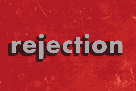 rejection: rejection vector word on red concrete wall