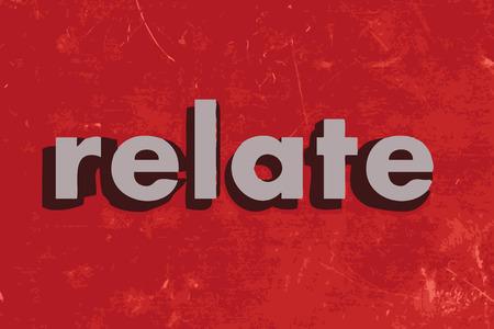 relate: relate vector word on red concrete wall Illustration
