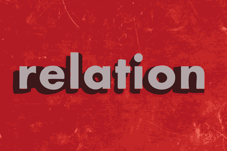 relation: relation vector word on red concrete wall Illustration
