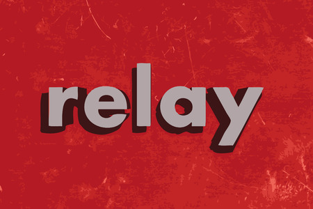 relay: relay vector word on red concrete wall
