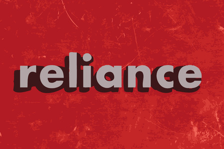 reliance: reliance vector word on red concrete wall