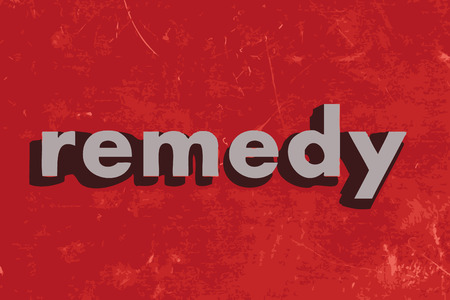 remedy: remedy vector word on red concrete wall