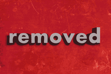 usunięta: usunięte słowo wektor na czerwonym betonową ścianę