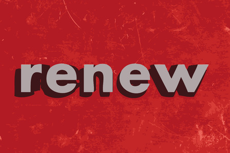 renew: renew vector word on red concrete wall Illustration