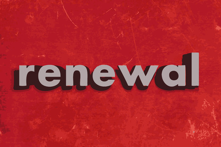 renewal vector word on red concrete wall