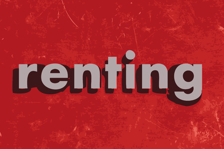 renting: renting vector word on red concrete wall