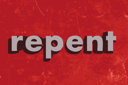 repent: repent vector word on red concrete wall Illustration