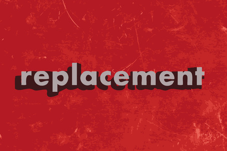 replacement: replacement vector word on red concrete wall Illustration