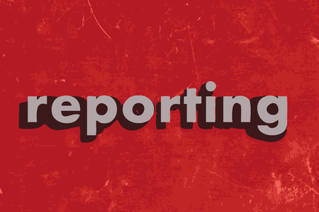 the reporting: reporting vector word on red concrete wall Illustration