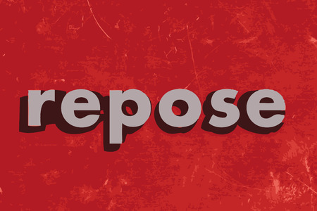 repose: repose vector word on red concrete wall