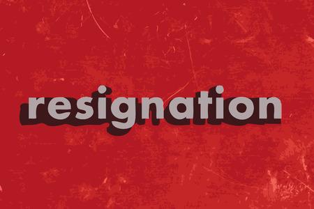renuncia: palabra dimisi�n del vector en rojo muro de hormig�n