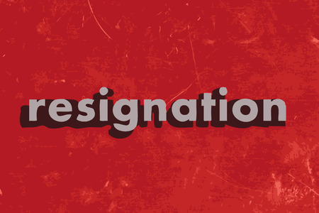 resignation vector word on red concrete wall