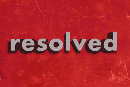 resolved: resolved vector word on red concrete wall Illustration