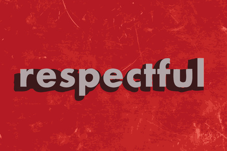 respectful: respectful vector word on red concrete wall Illustration