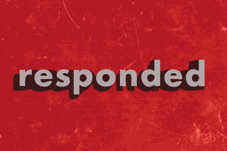 responded: responded vector word on red concrete wall Illustration