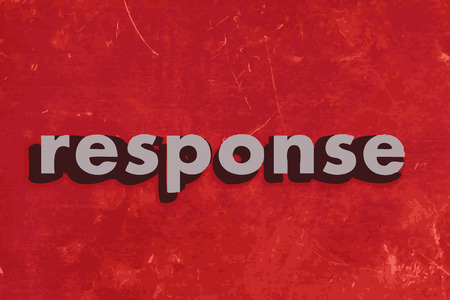 response: response vector word on red concrete wall