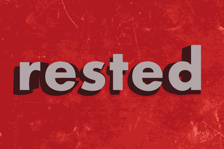 rested: rested vector word on red concrete wall Illustration