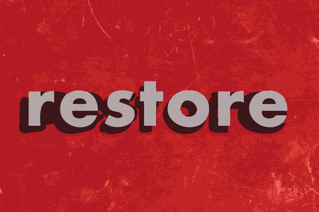 restoring: restore vector word on red concrete wall Illustration