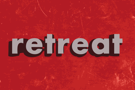 retreat vector word on red concrete wall
