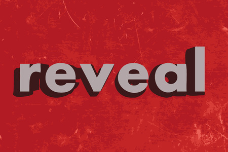 reveal: reveal vector word on red concrete wall Illustration