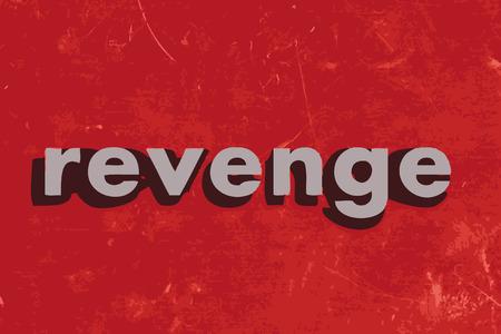 venganza: palabra venganza vector en rojo muro de hormig�n