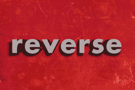 reverse: reverse vector word on red concrete wall