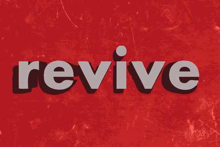 revive: revive vector word on red concrete wall Illustration