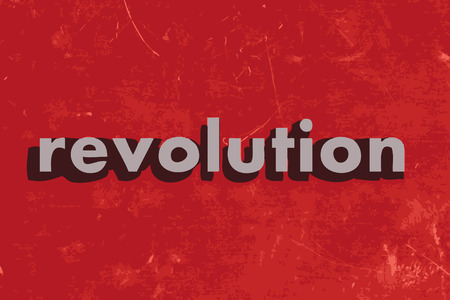 revolution: revolution vector word on red concrete wall