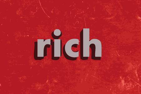 rich: rich vector word on red concrete wall